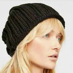 Free People Women's Rory Rib Knit Beanie Hat Black